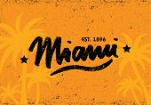 Miami Vector Caligraphy Hipster Template Background Orange poster