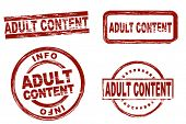 Set of stylized red stamps showing the term adult content. All on white background. poster