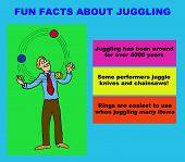 Cartoon illustration of man juggling three balls, 'Fun Facts About Juggling'. poster