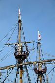 The Golden Hinde is docked at the side of the River Thames. It is a full sized exact replica of Sir Francis Drake's 16th Century warship which he use to circumnavigate the world along with a little piracy on the way poster