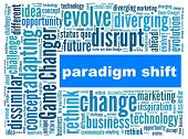 Paradigm Shift in word collage poster