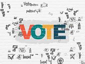 Political concept: Painted multicolor text Vote on White Brick wall background with Scheme Of Hand Drawn Politics Icons poster