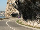way through rock of french riviera at sea poster