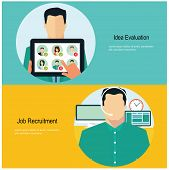 Concept for web banners and promotions. Flat design concept for job recruitment poster