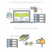 Flat line design vector illustration concepts for data protection and internet security, online safety, email protection from spam, email security software, for website banner and landing page. poster