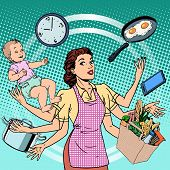 Housewife work time family success woman pop art retro style. A woman plans the time and manages to do everything around the house. Child care, work via smartphone, cooking, household chores. poster