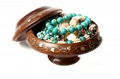 open wooden box filled with jewelry inside poster