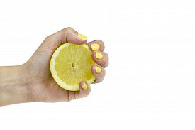 Lemon with yellow nails