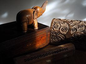 Wooden Boxes in Sunlight with Wooden Elephant