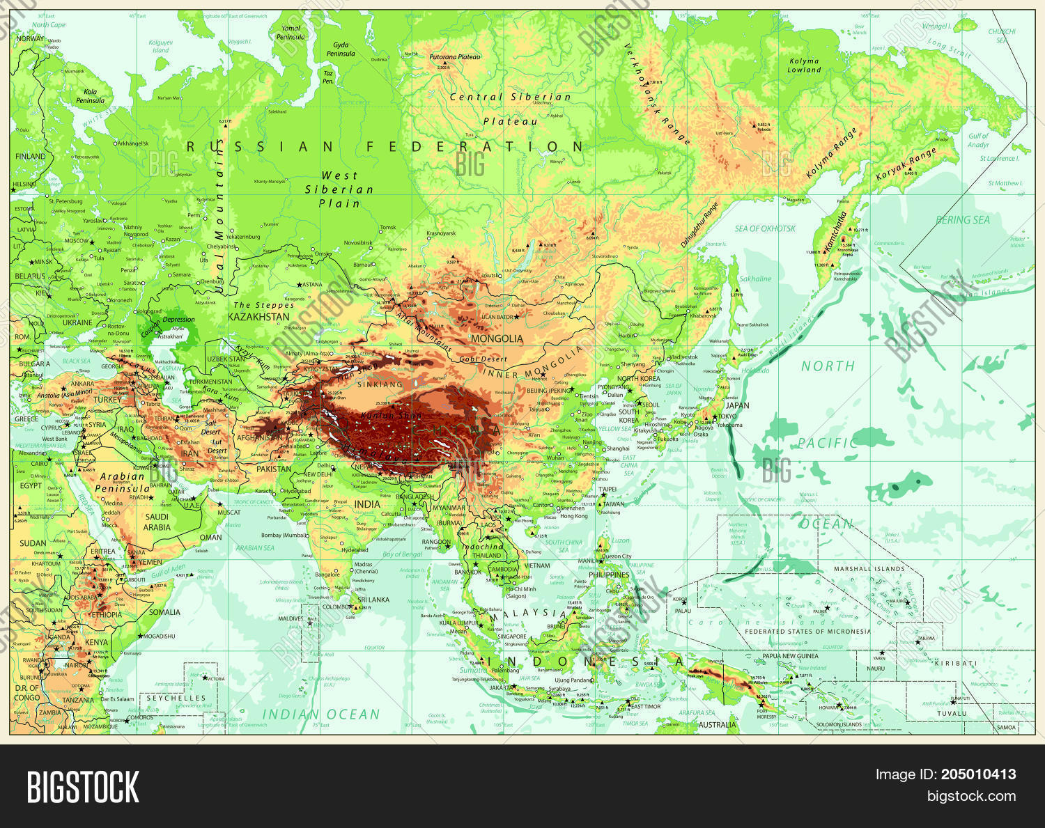 Map Of Asia Rivers And Seas.Asia Physical Map Vector Photo Free Trial Bigstock