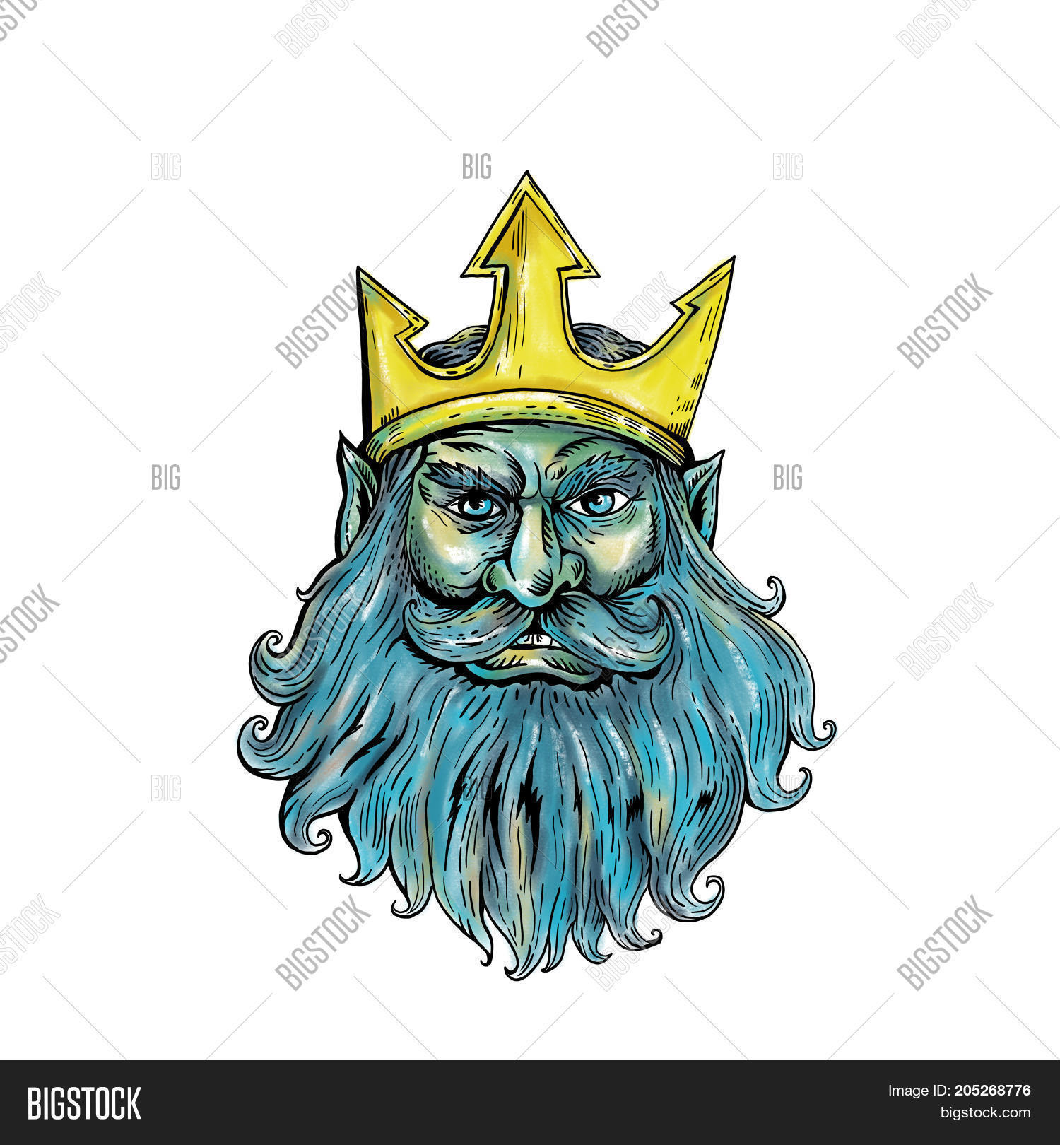Poseidon trident images illustrations vectors poseidon trident woodcut style illustration of head of neptune poseidon or triton wearing a trident crown with flowing biocorpaavc Image collections