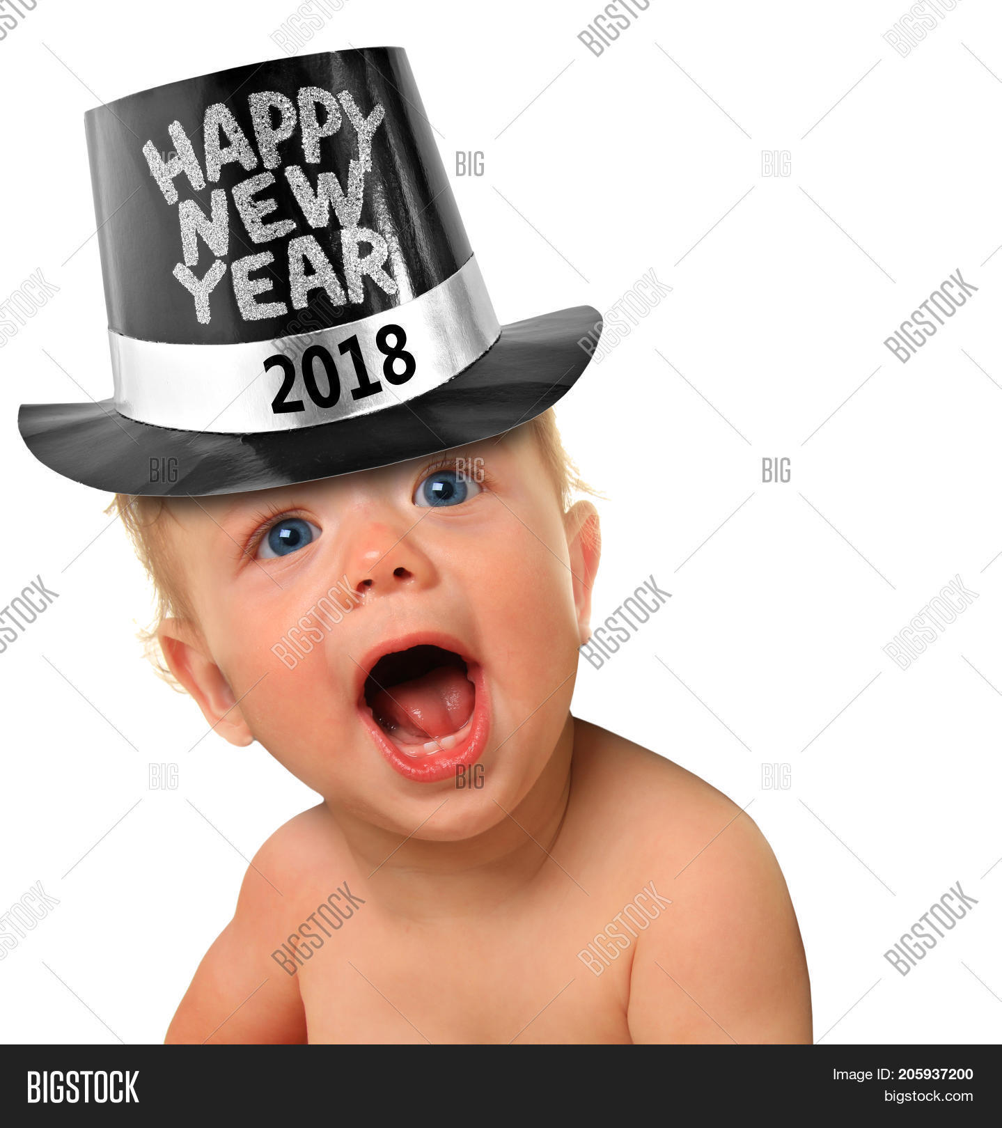 cute happy new year baby 2018 studio isolated on white
