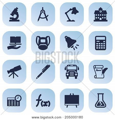 Collection Of Rucksack, Autobus, Schedule And Other Elements.  Set Of 16 Education Icons Set.