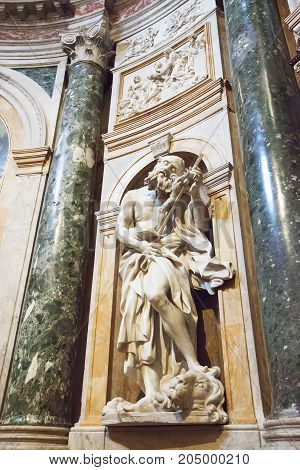 Siena Italy - April 04 2017: Sculpture in the interior o Siena Cathedral (Duomo di Siena) medieval church