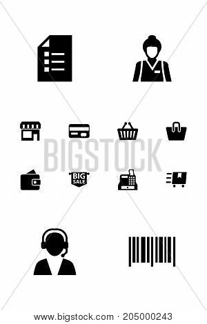 Collection Of Till, Cargo, Seller And Other Elements.  Set Of 12 Shopping Icons Set.