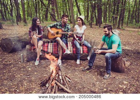 Great Weekend Together. Fire Place, Four Cheerful Serene Tourists Are Sitting On The Log With Blanke