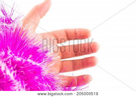 hand and fluffy purple sleeve on a white background