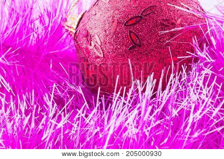 christmas background fluffy decoration and red toy festive mood