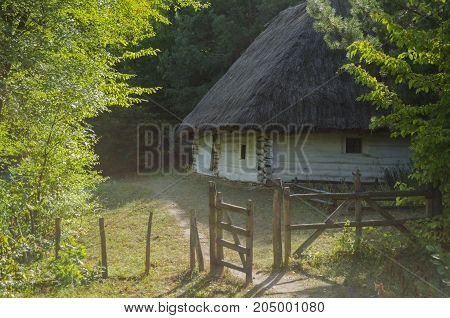 An old white wooden house with a thatched roof in the fall at the National Museum of Architecture in Pirogovo where there is a collection of ancient wooden houses and temples near Kiev Ukraine