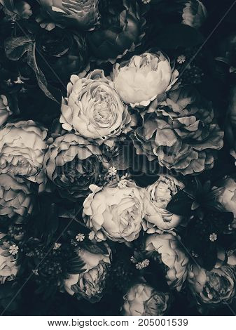 Black and White rose and peony flowers