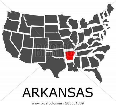 State Of Arkansas On Map Of Usa