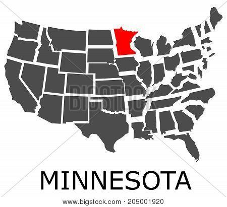 State Of Minnesota On Map Of Usa