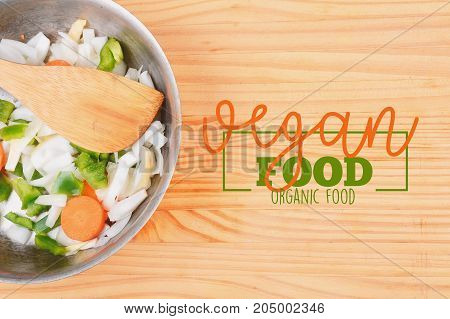 Salad with rectangle frame border of decorative vegan food design. Healthy eating concept