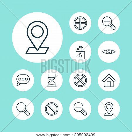 Icons Set. Collection Of Glance, Pinpoint, Positive And Other Elements