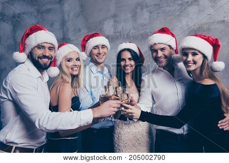 Three Festive Couples Of Lovers With Stemware Of Martini On Luxury Feast, Love Is In Air, They Embra