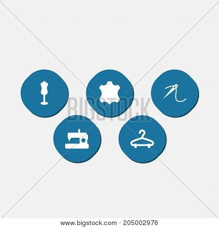 Collection Of Eyelet, Skin, Rack And Other Elements.  Set Of 5 Tailor Icons Set.