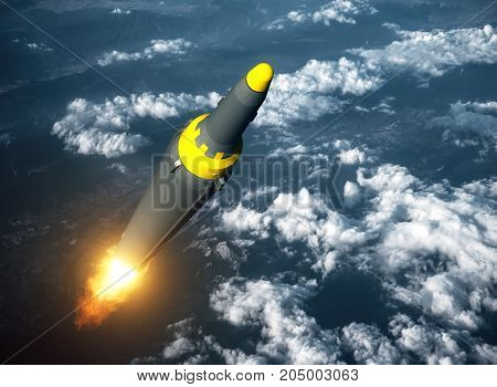 Launch Of North Korean Ballistic Missile. 3D Illustration.