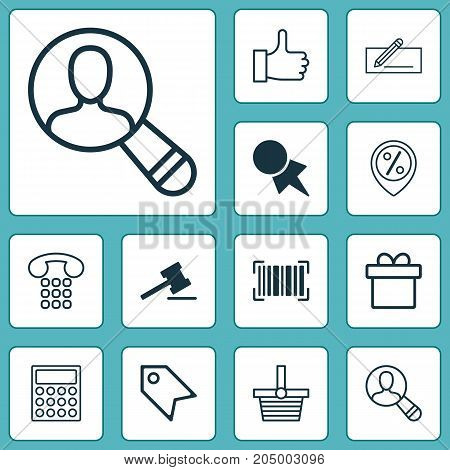 E-Commerce Icons Set. Collection Of Recommended, Present, Identification Code And Other Elements