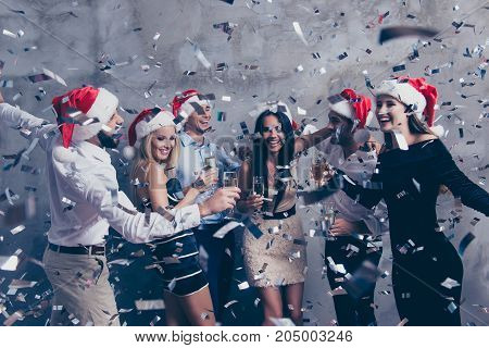Newyear Celebration. Chilling Relax Mood! Group Of Beautiful Festive Youth Scream, Stemware Of Marti