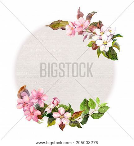 Floral pattern with blossom pink flowers and cute bird. Watercolor circle background