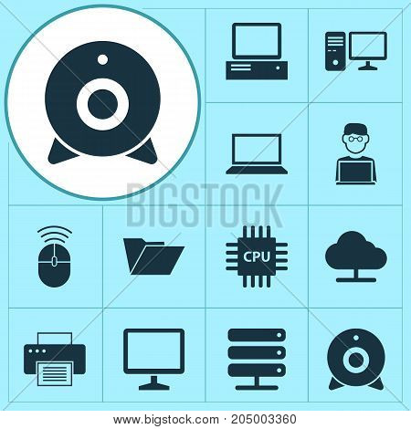 Gadget Icons Set. Collection Of Monitor, Motherboard, Desktop And Other Elements