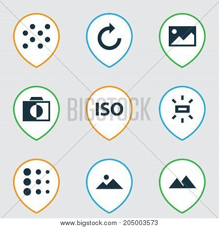 Picture Icons Set. Collection Of Mountain, Round, Light Level And Other Elements