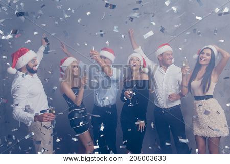 Chilling Group Of Students In Luxury Dresses, Shirts, Xmas Headwear, Amazed, Laughing, Cheerful, Ent