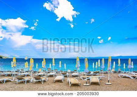 Summer view at famous adriatic beach Golden Cape on Island Brac, symbol of tourism in Croatia,