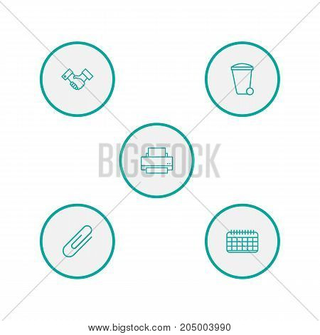 Collection Of Fastener Paper, Printing Machine, Date And Other Elements.  Set Of 5 Cabinet Outline Icons Set.