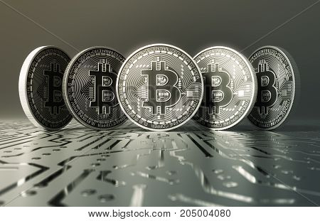 Five Virtual Silver Coins Bitcoins On Printed Circuit Board. 3D Illustration.