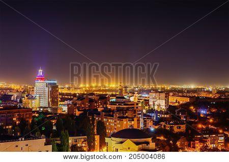 Voronezh, Russia, Circa September 2017: Aerial view of Night Voronezh city, Ramada Plaza hotel, city center
