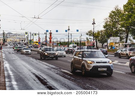 St.Petersburg, Russia - Circa May 2017: City road vehicle cars near to the Hermitage, St. Petersburg, urban traffic