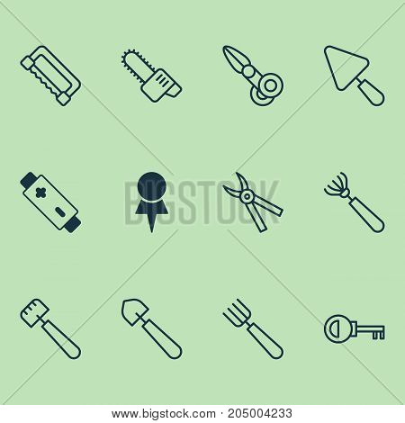 Tools Icons Set. Collection Of Garden Fork, Harrow, Alkaline And Other Elements