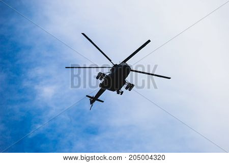 Russian Military Helicopter During Flight In The Air, A Squadron Formation Of Helicopters
