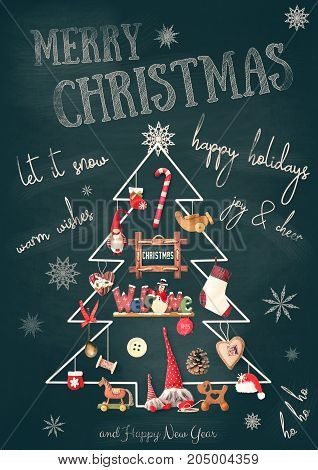 Merry Christmas Greeting Card - Chalk Christmas Tree with Gifts and Xmas Toys on Blackboard. New Year Chalk Text. Vintage Toned.