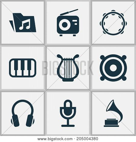 Music Icons Set. Collection Of Phonograph, Megaphone, Lyre And Other Elements