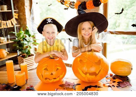 Close Up Cropped Photo Portrait Of Two Small Charming Kids At Halloween Party Indoors - Blond Small