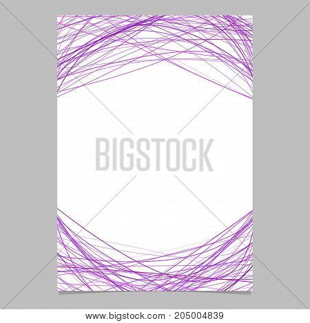 Stationery template with chaotic curved stripes in purple tones at top and bottom - blank vector page design on white background
