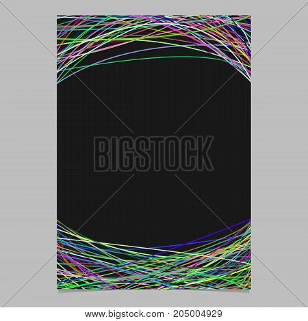 Abstract brochure template with random curves in multicolored tones at top and bottom - blank vector flyer graphic design on black background