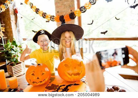 We Love Halloween! Shot Of Two Little Brother And Sister - Blond Small Wizard And Pirate, Bonding, S